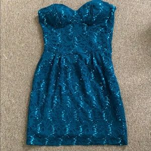 Blue strapless sparkly short dress